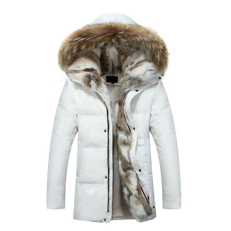 Зимняя мужская куртка, хлопковое пальто, парка, мужская куртка, утолщенная, теплая, кроличий мех, воротник, мех енота, с капюшоном, Размер 4XL, Р