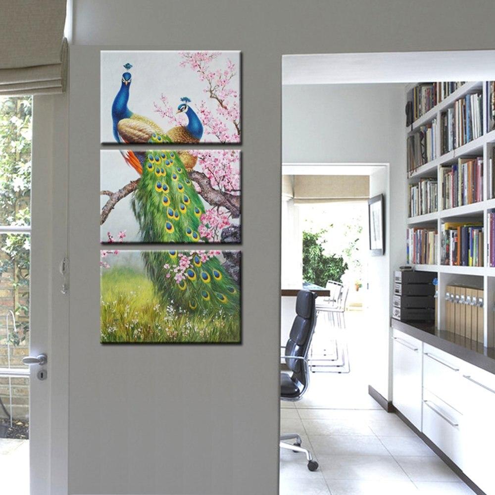 Dier Canvas Art Prints Pauw en Bloemen Wall Art Canvas Schilderen Voor Woonkamer Home Decor 3 Panelen Drop verzending
