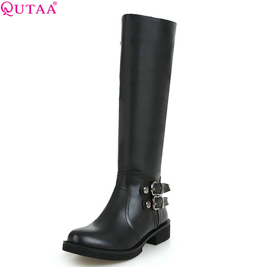 QUTAA 2020 Square Heel Women Knee High Boots Platform Pu All Match Black Winter Boots Women