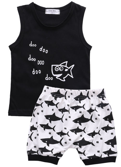Baby Shark Summer Sleeveless Outfits Newborn Babies Boys Printing Vest Top|+Shorts Outfit Clothes