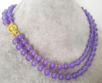 fine jewelry   Fashion 2Rows 8mm Natural Lavender Jade Gemstone Round Beads Necklace