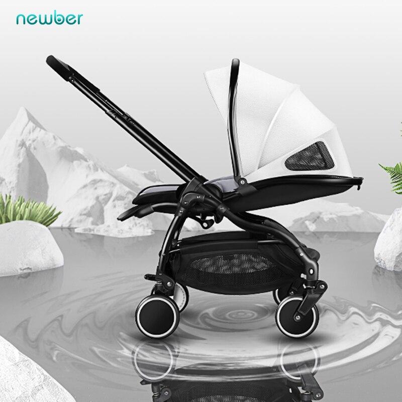 2019 bébé poussette double usage léger pliant peut s'asseoir bidirectionnel 0-3 ans enfants nouveau-né en cuir poussette T01