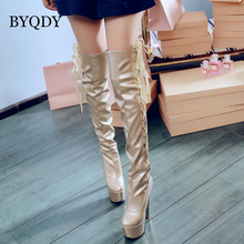 BYQDY Sexy Women long Boots Knee High Boots Ultra High Heels Round Toe Platform Lacing Boots Thick Heel chaussures femme hot sale women fashion round toe leopard suede leather knee high thick heel boots elegant buckle design long boots