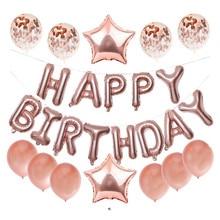 16 بوصة بالونة عيد ميلاد سعيد مجموعة رسالة احباط حفلة عيد ميلاد الديكور الاطفال ارتفع الذهب النثار بالونة عيد ميلاد سعيد s Kids
