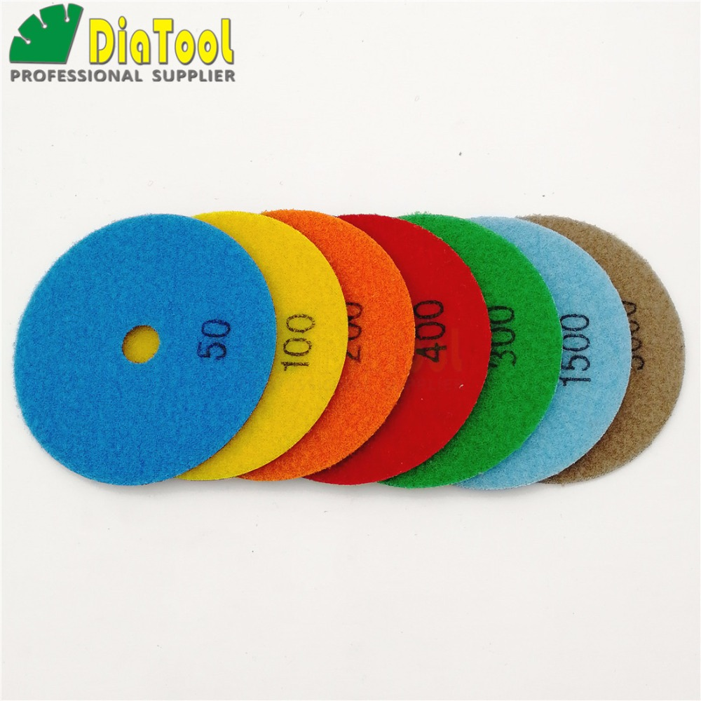 7pcs/set 4inches dry Diamond polishing pads  DIA 100MM Resin bond diamond flexible Sanding disc for granite marble ceramic
