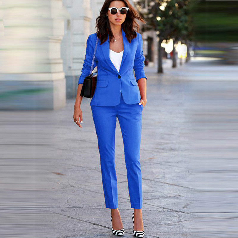 Formal Office Trousers and Trousers Sets Women s Workwear 2 Pieces Suit Jacket Suit Jacket Set