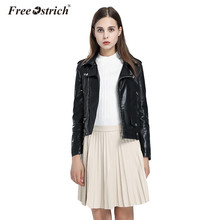 Free Ostrich Leather Jacket Women Winter Clothing Zipper Pockets 2019 Slim Solid Bomber Stand Coat Chaqueta Mujer Outerwear D40