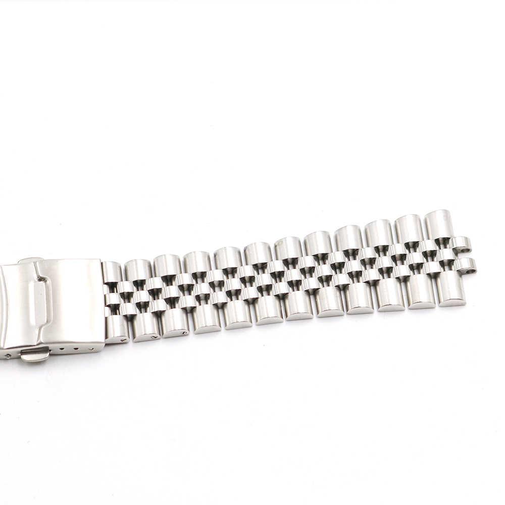 CARLYWET 22mm Hollow zakrzywiony koniec stałe śruby linki ze stali nierdzewnej srebrny zegarek zespół VINTAGE jubileusz bransoletka podwójne zapięcie Push