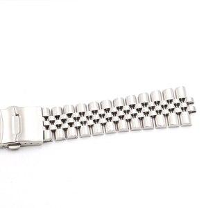 Image 5 - CARLYWET Bracelet VINTAGE avec fermoir à Double pression, fin incurvée creuse, 22mm, en acier inoxydable, argent Bracelet de montre
