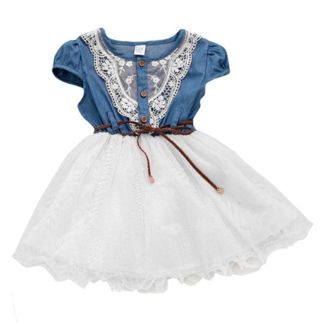 d2ee6f3ad85a9 US $8.85 |Summer Girls Clothes Baby Kids Denim Party Princess Dress  Children's Jeans Sundress Tutu Denim Dresses for Baby Girls White Pink-in  Dresses ...