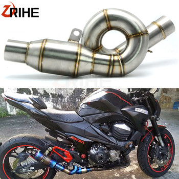Motorcycle exhaust link pipe mid pipe stainless steel fit for 51mm exhaust Convertor Adapter For Kawasaki Z800 Z 800 2012-2017