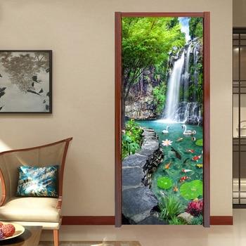 Custom 3D Mural Wallpaper Waterfall Pond Bedroom Landscape Decor Photo Wallpaper Sticker PVC Self-Adhesive Door Murals Stickers fancy 3d lotus pond design bathroom stickers
