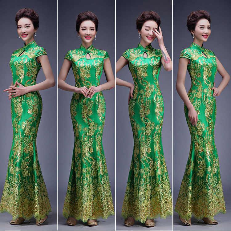 סיני מסורתית בנות Qipao הסיני נשי אדום ארוך שמלת כלה הכלה Fishtail תחרה עם נצנצי ערב המפלגה שמלת 89
