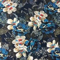 2 Pattern Dark Blue Floral Stripe Digital Print Fabric Woven Upholstery Sofa Armchair Decorative Cloth 140cm