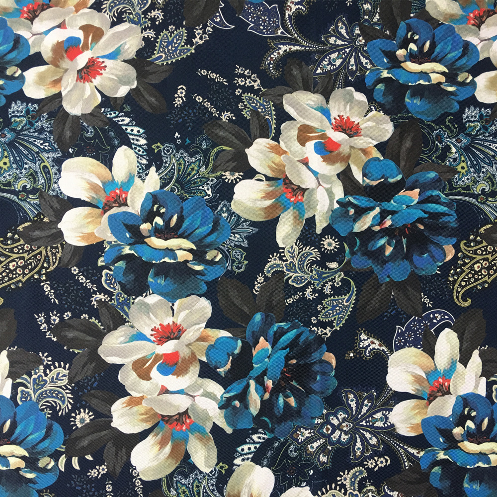 2 pattern dark blue floral stripe digital print fabric