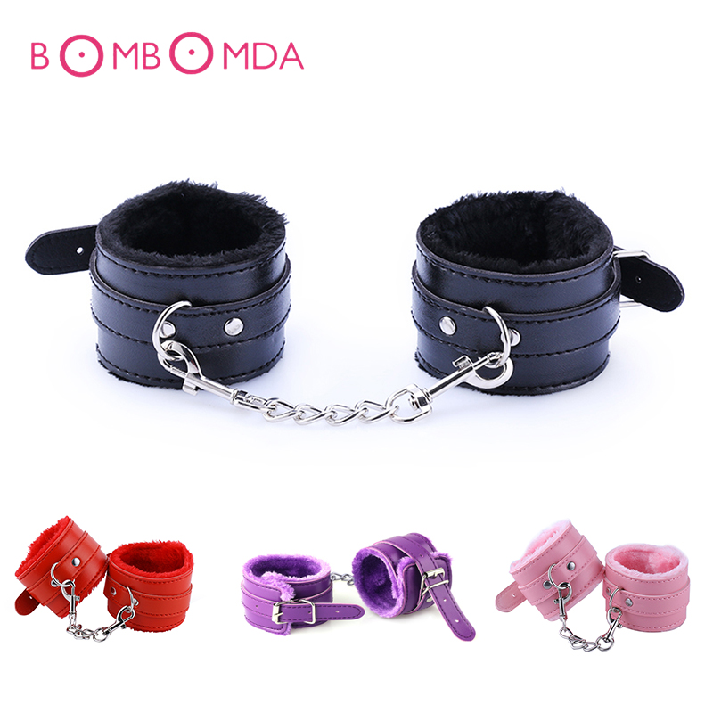 PU Leather BDSM Handcuffs Adjustable Plush Bondage Restraint SM Slave Game Hand Cuffs Adult Erotic Sex Toys For Men Women Couple