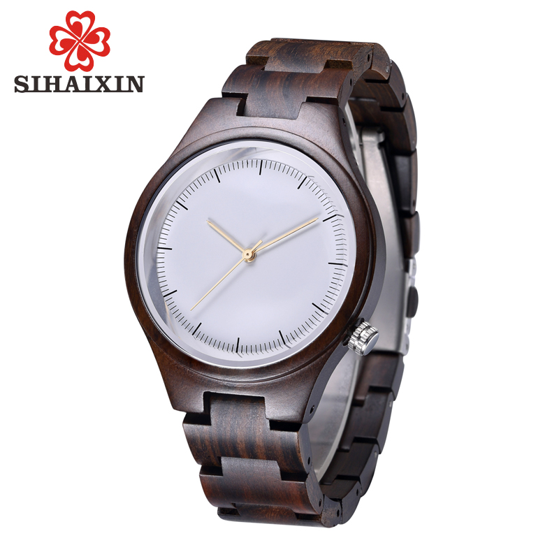 SIHAIXIN Wood Watch For Women 2018 Luxury Brands Lady Watches Black Ebony Wooden Band Japan Quartz Wristwatch Mother's Day Gift rigardu fashion female wrist watch lovers gift leather band alloy case wristwatch women lady quartz watch relogio feminino 25