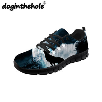 doginthehole Men Sport Shoes Outdoor Training 3D Cool Wolf Printing Sneakers Platform Female Lightweight Mesh Running Shoes Flat