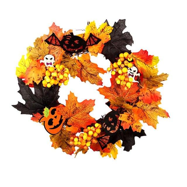 Home Decor Wreath Front Door Simulation Maple Leaf Autumn Pumpkin Lamp Artificial Decoration