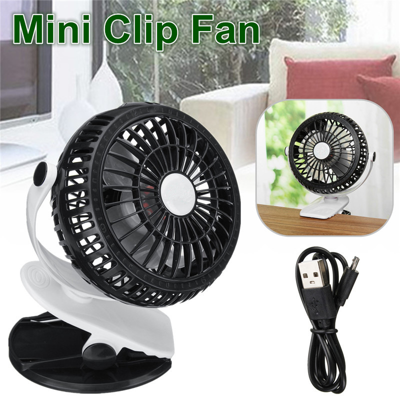 Mini Clip Fan Portable Rechargeable Battery USB Fan For Baby Stroller Car Adjustable 360 Rotatable 3 Control Speed Firm Grip