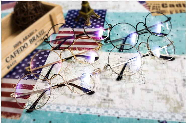 Óculos de Nerd Lente Clara 52mm Rodada Mulheres Homens Óculos Vintage Frame  Ótico Homens Armações de óculos de Computador Oculos de grau Femininos b121e861f6