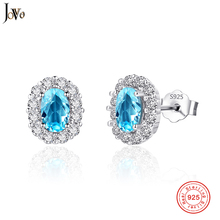 JOVO 925 Sterling Silver Earrings Women Oval Fancy Colored Sapphire Ladies Stud Wholesale Fine Jewelry Wedding Gifts