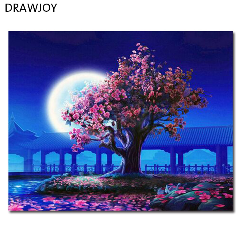 DRAWJOY Framed Landscape Picture Diy Oil Painting By Numbers Canvas Painting Home Decor For Living Room 40*50cm GX5376