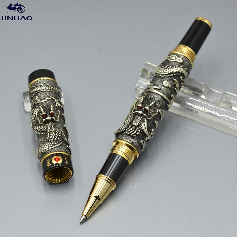 JINHAO gray Dragon sculpture roller ball pen school office stationery luxury brand Birthday gift set pens for collection high quality jinhao x450 cloud of ash bright roller ball pen school office stationery brand birthday gift writing gel pen pens