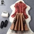 Весна осень взлетно-посадочной полосы дизайнер женской одежды установить красный синий блузка хаки серый колен юбка черный цветок вышивка бренда костюм
