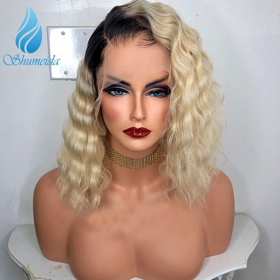 SHD 13 6 Short Human Hair Wigs Ombre Blonde Lace Front Wigs Black Women Brazilian Remy