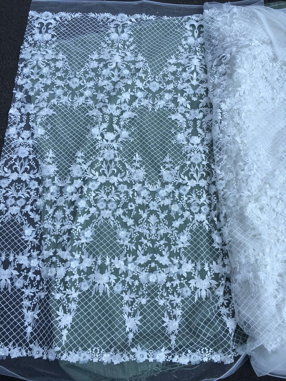 5yards Vintage 3D flower lace fabric tulle wedding dress fabric ...