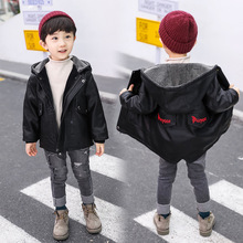 2018 Children's clothing boy's leather winter new children's plus cotton leather jacket children's hooded padded leather jacket