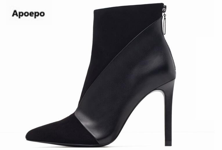 Sales 2018 ankle boots for women black leather suede riding boots sexy high heels shoes women boots pointed toe zapatos mujer apoepo 2018 ankle boots for women black leather suede riding boots sexy high heels shoes women boots pointed toe zapatos mujer