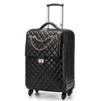 Роскошные PU сумки на колёсиках набор чемоданов Spinner Женская тележка чехол/сумка 24 дюймов колёса человек 20 интернат дорожная сумка багажник