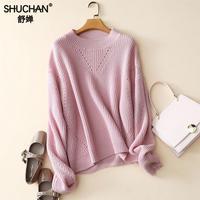 SHUCHAN Sweater Women's Winter Warm 100% Cashmere O neck Pullover Ladies Sweaters Sueters Mujer Invierno Manga Larga 1809