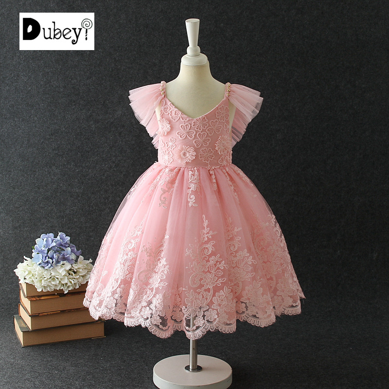 Baby Girl New Sleeveless Lace Princess Dress for Prom Children Girl Lace Ball Gown for Birthday Party of honor