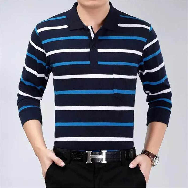 2019 casual long sleeve business mens shirts male striped fashion brand polo shirt designer men tenis polos camisa social