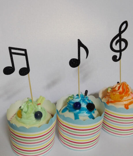 Black Glitter Music Notes Cupcake Toppers Decorations Wedding Party Bridal Shower  Baby Shower Birthday Food Picks