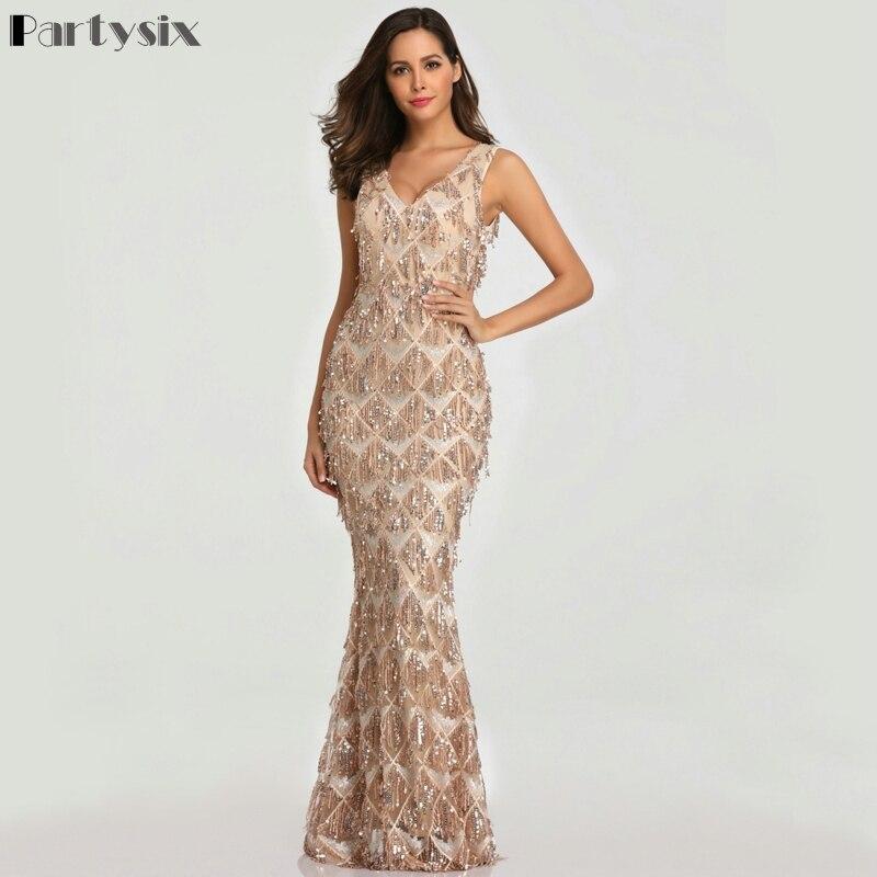 Partysix 2019 Sexy V neck Tassel Sequin Dress Women Elegant Long Party Bodycon Dress