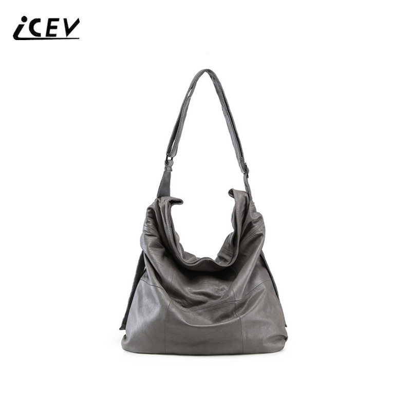 ICEV New Fashion 100% Genuine Leather Handbags Classic Large Ladies Cowhide Shoulder Totes Women Leather Handbags Top Handle Bag icev 100