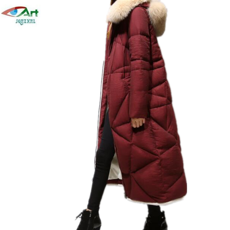 JQNZHNL 2018 New Fashion Large size Winter Jacket Hooded Long Women Jacket Coats Collar Thicken Warm Padded Cotton Coat P305
