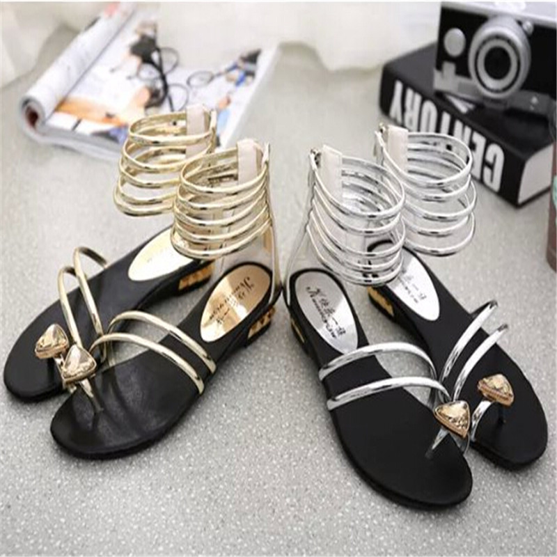 gold gladiator heels silver wedges scarpe donna flat sandals with rhinestones  wedge heel women sandalia gladiadora sandalias-in Women s Sandals from Shoes  ... cb4a66d0d778
