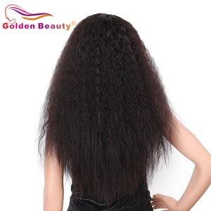 Image 3 - Peruca de cabelo sintético para mulheres, 24 polegadas, peruca cabelo sintético longo, castanho e resistente ao calor, cabelo natural, beleza dourada