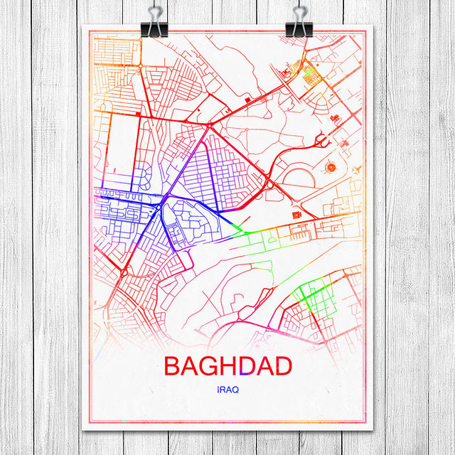 modern colorful world city map baghdad iraq poster abstract coated paper bar pub living room home