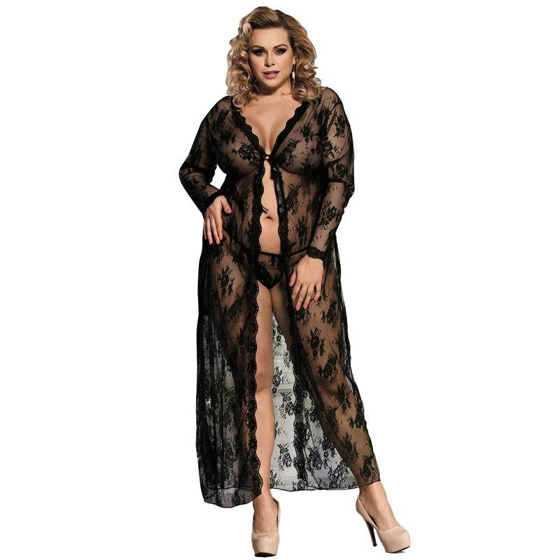 Plus Size LingerieDelicate Lace Long Sleepwear Gownxs-4xl r80232