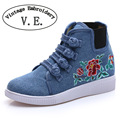 Vintage embroidery shoes spring summer new Floral Embroidered Chinese buckle Single walking Flats casual Shoes 34-40