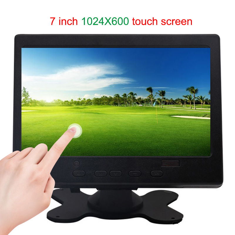 7 Inch HDMI Touch Monitor Pc Mini Small Lcd CCTV Full Hd Portable Monitor TFT 1024*600 Built-in Speaker For Car Reverse Rearview