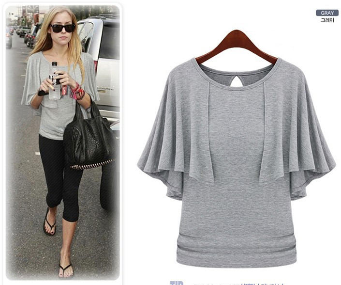 Oxiuly New Summer Solid Fashion Cloak O-Neck Women Cotton Blend Slimming Stretchy Tops Loose Casual T-Shirt Plus Size M-5XL 7