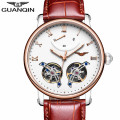2016 GUANQIN New Mechanical Watch Men Fashion Hollow Tourbillon Wrist Watches Male Waterproof Automatic Clock relogio automatico