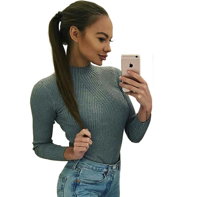 Mujeres Suéteres de Géneros de Punto Slim Fit Top Basa la Camisa Jumper Sweater